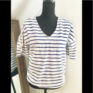 Tops - Blue and White Striped Top Lace-up Sleeves